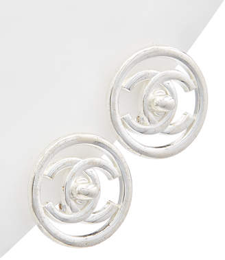 Chanel Silver-Tone Turnlock Circle Medium Studs