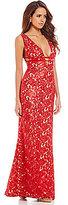 Gianni Bini Naomi V-Neck Sleeveless Embroidered Gown