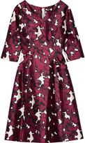Oscar de la Renta Floral-print Duchesse Silk-satin Dress - Burgundy
