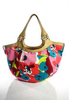 Cole Haan Multi-Color Leather Trimmed Floral Print Medium Shoulder Handbag