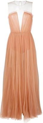Elisabetta Franchi Semi-Sheer Tulle Gown