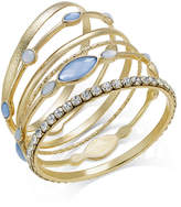 INC International Concepts Gold-Tone 6-Pc. Set Crystal and Blue Stones Bangle Bracelets, Only at Macy's