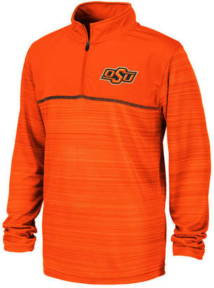Colosseum Big Boys Oklahoma State Cowboys Striped Mesh Quarter-Zip Pullover
