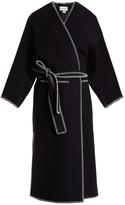Loewe Contrast-stitch collarless wool-blend coat