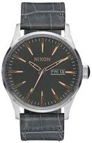 Nixon Men's Sentry A1052145 Grey Leather Quartz Watch