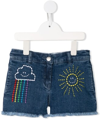 Stella McCartney Kids Cloud And Sun Embroidered Denim Shorts