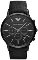 Emporio Armani Ar2461 Chronograph Leather Strap Watch, Black