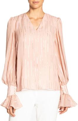 Santorelli Fancy Striped V-Neck Silk Blouse w/ Voluminous Sleeves