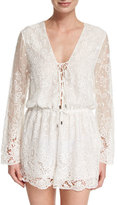 Zimmermann Roza Embroidered-Lace Veil Playsuit