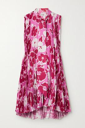Balenciaga Asymmetric Pleated Floral-print Satin Mini Dress - Pink