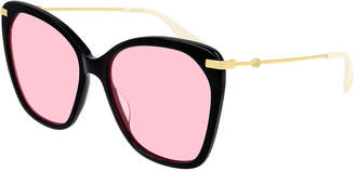 Gucci Acetate & Metal Butterfly Sunglasses