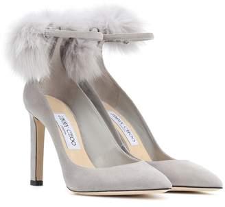 Jimmy Choo South 100 fur-trimmed suede pumps