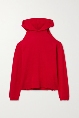 RtA Juno Cold-shoulder Distressed Cashmere Hoodie - Red