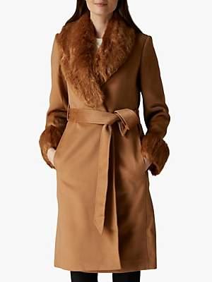 Jaeger Faux Fur Collar & Cuff Wool Coat