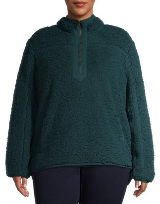 Time and Tru Women's Plus Size Quarter Zip Faux Sherpa Pullover