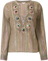 Manoush lurex striped embroidered blouse