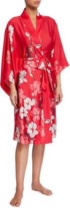 Natori Floral Printed Satin Robe