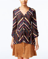 NY Collection Petite Printed V-Neck Blouse