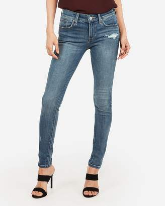Express Mid Rise Medium Wash Ripped Jean Ankle Leggings