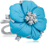 Fleur Collection: Silver Ring with Blue Turquoise and CZ Flower by Drukker Designs