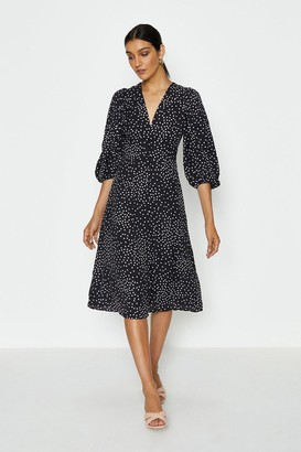 Coast V-Neck Puff Sleeve Spot Midi Dress