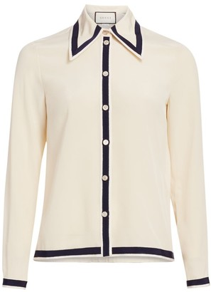 Gucci Crepe De Chine Trim Button-Down Blouse