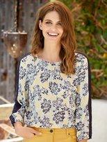 M&Co Lace trim floral shirt