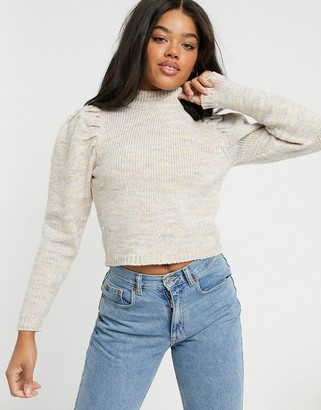 Only knitted jumper in textured knit with shoulder detail in cream