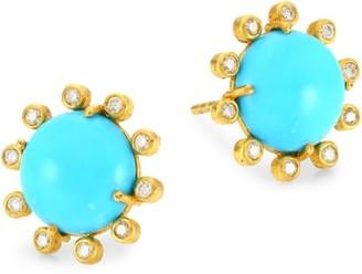 Nina Gilin 14K Yellow Gold. Diamond & Turquoise Earrings