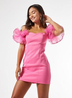Miss Selfridge PETITE Pink Organza Sleeve Bodycon Dress