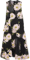 Simone Rocha Floral-embroidered Cotton-blend Tulle Midi Dress - Black