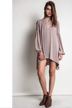 People Outfitter Taupe Bishop Sleeves Embroidery Tunic Dress
