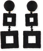 Oscar de la Renta Wrapped Double-Square Drop Earrings