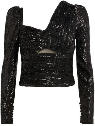 Self-Portrait Asymmetric Sequinned Top