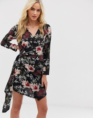 AX Paris floral mini dress-Black