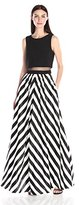 Betsy & Adam Women's Mock 2pc Stripe Gown