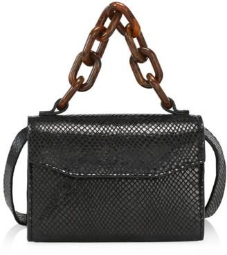 Ganni Lizard-Embossed Leather Belt Bag