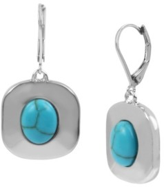 Kenneth Cole New York Silver-Tone Cabochon Disc Drop Earrings