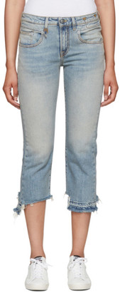 R 13 Blue Straight Cropped Boy Jeans
