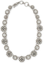 Marchesa Silver-Tone Crystal Cluster & Stone All-Around Collar Necklace