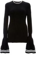 Derek Lam Silk Cotton Rib Elongated Bell Sleeve Pullover