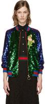 Gucci Multicolor Sequin Bomber Jacket