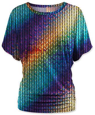 Udear UDEAR Women's Blouses Print - Purple & Blue Abstract Dolman Top - Women & Plus