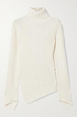 Coperni Rib Mix Motion Asymmetric Ribbed-knit Turtleneck Sweater - Ivory