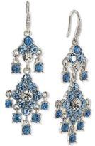 Carolee Silver-Tone Blue & Clear Crystal Chandelier Earrings