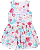 Lelli Kelly Kids White and Multi Rose and Sequin Heart Dress