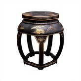 Oriental Furniture Unique Decorative End Table or Drink Table, 18-Inch Ming Hand Painted and Lacquered Blossom Stool, with Asian Landscape Design
