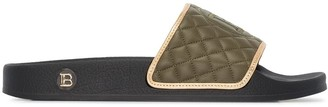 Balmain Calypso logo-embroidered quilted leather slides
