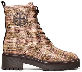 Tory Burch Miller Lug-Sole Tweed Combat Boots