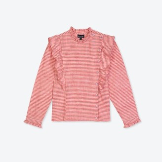 Lowie Pink Gingham Ruffle Blouse - L